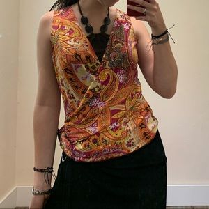Tie up paisley top